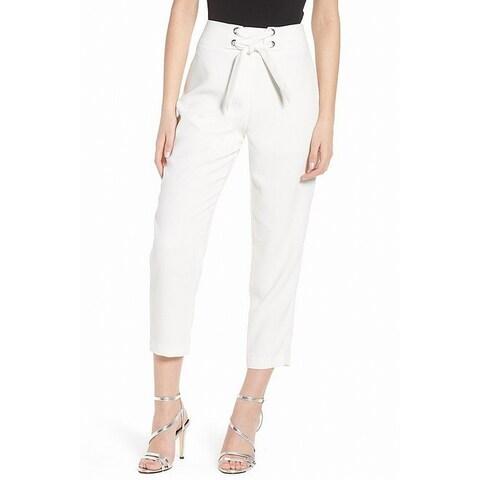 Leith White Women's Size XL Lace Up Capri Dress Pants Stretch