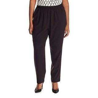 Nine West NEW Solid Black Women 22W Plus Pleated Stretch Dress Pants