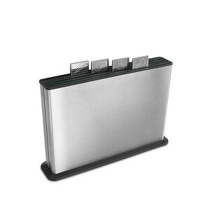 Joseph Joseph Index Plastic Cutting Board Set with Stainless Steel Storage Case, Large, Steel & Black