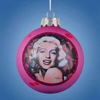 "3.25"" Pink Marilyn Monroe ""Kiss Kiss"" Glass Ball Christmas Ornament (80mm)"