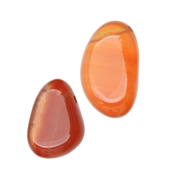 Orange Fire Agate Gemstone Beads, Smooth Nuggets 8-17mm, 10 Pieces, Orange