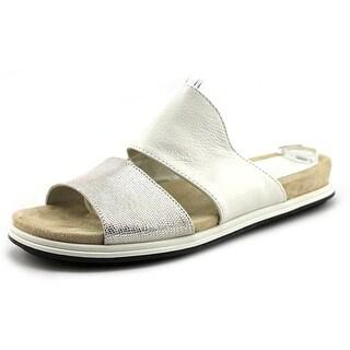 Naya Korthay Women Open Toe Leather White Slides Sandal