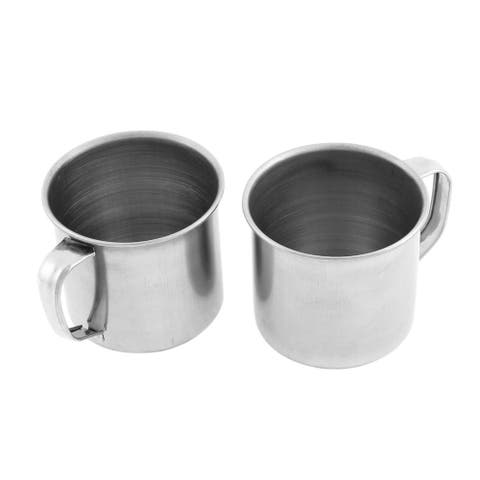 Office Stainless Steel Lidless Water Cup Drink Mug 6cm Height 2 Pcs - Silver