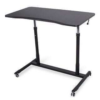 BELLEZE Modern Adjustable Standing Sitting Table Furniture and Wheel Casters, Black