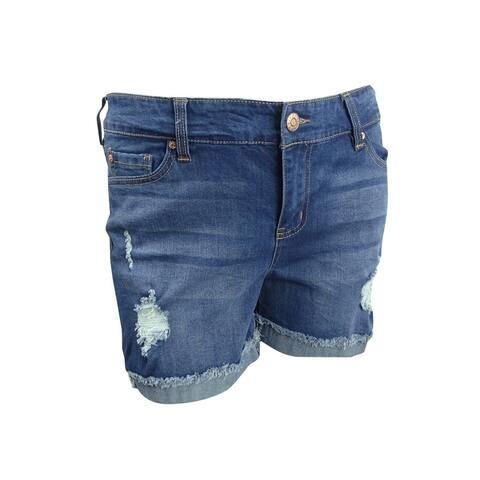 Celebrity Pink Women's Plus Size Flip Fray Shorts - Runaway Medium