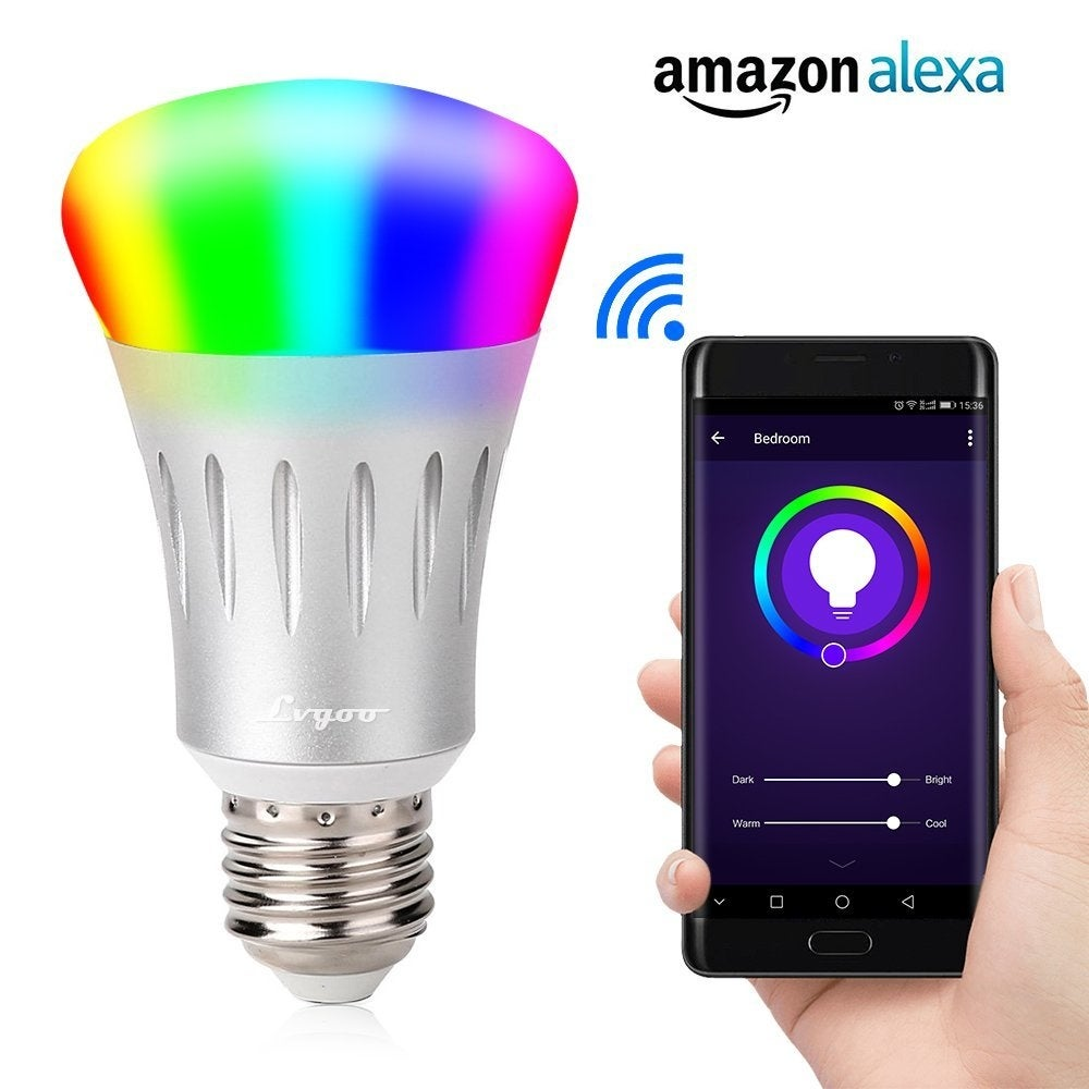 Lampwin WIFI Smart LED Bulb, Works with Amazon Alexa, E27 Dimmable Multicolored LED for iOS Android