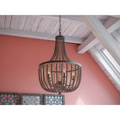 Zander 5 Light Chandelier - Golden Bronze with Gray Wood Beads