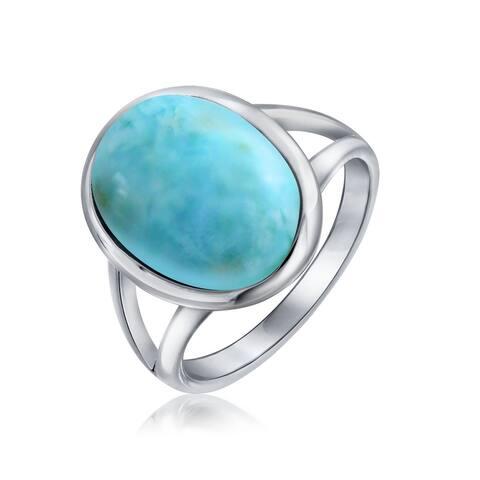 Large Oval Bezel Boho Blue Larimar Ring Split Band 925 Sterling Silver