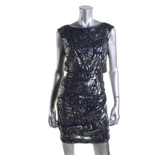 Adrianna Papell Womens Petites Party Dress Sequined Blouson