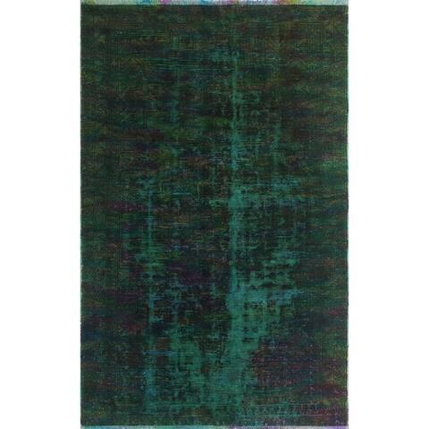 """Noori Rug Vintage Katharin Green/Magenta Rug - 4'2"""" x 7'1"""""""