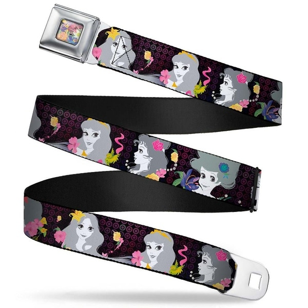 Floral Collage Full Color Multi Pastel Princess Silhouettes Dots Black Seatbelt Belt