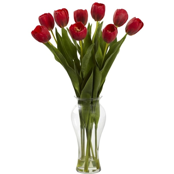 Nearly Natural 24 Tulips with Vase Arrangement - Red