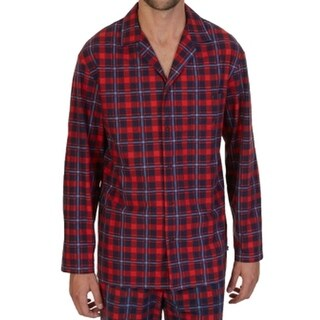 Nautica NEW Red Mens Size Small S Button-Down Plaid-Print Nightshirt
