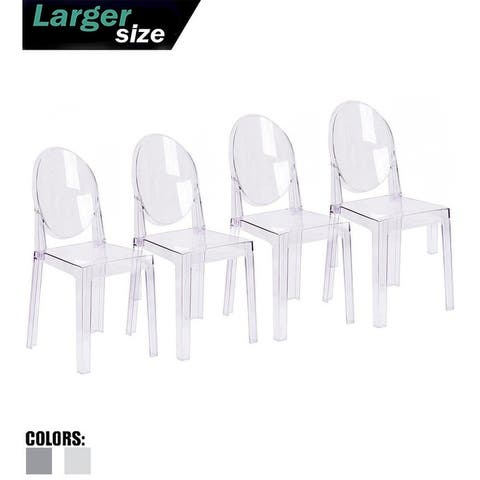 2xhome Set of 4 Larger Dining Chairs Modern Transparent Wedding Living Patio Office Crystal Seat Event Outdoor UV Garden