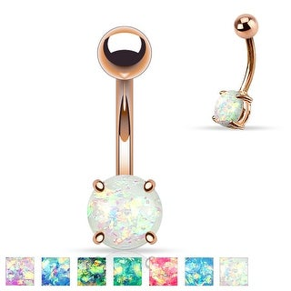 Prong Glitter Opal Rose Gold IP Surgical Steel Belly Button Navel Ring - 14GA (Sold Ind.)