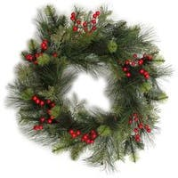 """- Traditional Berry Pine Wreath 24"""""""