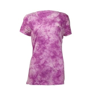 Style & Co Women's Embellished Shoulder Tie-Dye Tee Shirt