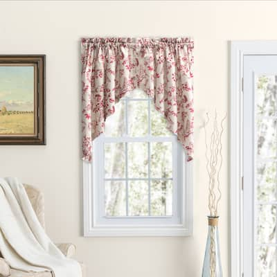 Waverly Gardens Rod Pocket with header Kitchen Curtains - Tier, Swag or Insert Valance (Sold Separately)