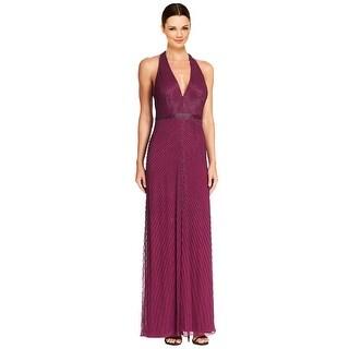 Aidan Mattox Halter V-Neck T-Strap Back Beaded Evening Gown  Dress
