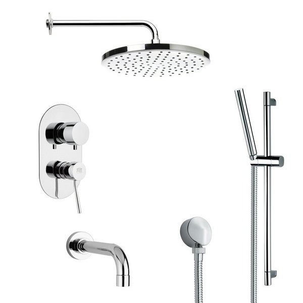 Nameeks TSR9046 Remer Shower Tub and Shower Trim Package with Single Function Rain Shower head and Hand Shower - Chrome
