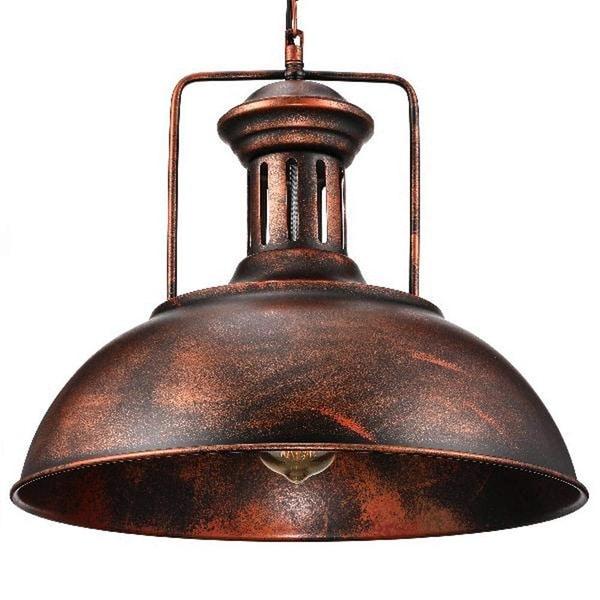 Modern Copper Ring Led Pendant Lighting 10758 Shipping: Shop Rustic Industrial Dome Pendant Light, Single Vintage