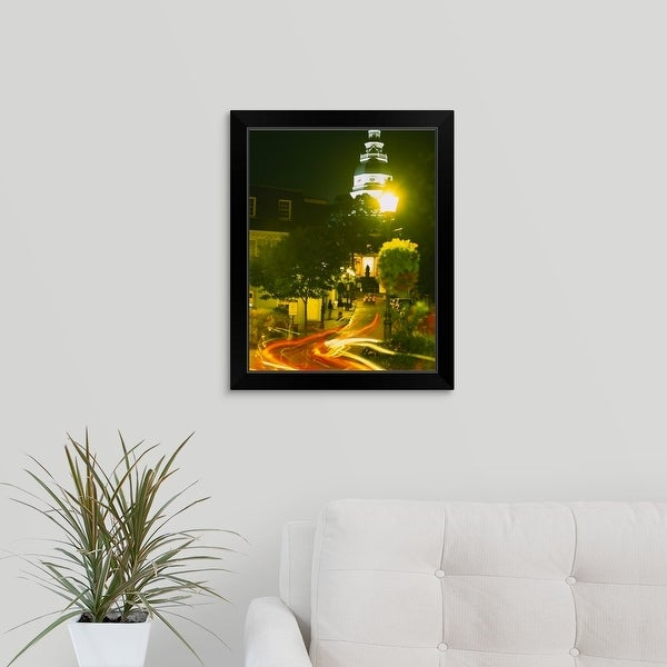 """""""High angle view of a downtown street, Annapolis, Maryland"""" Black Framed Print"""
