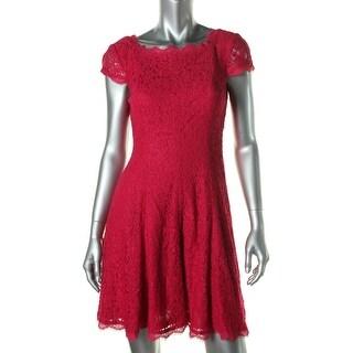 Adrianna Papell Womens Petites Crochet Cap Sleeves Cocktail Dress - 8P