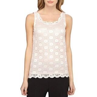 Tahari ASL Floral Lace Tank Top Blouse Petal Pink - xL