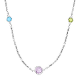 Flower Station Necklace with 4 7/8 ct Natural Multi-Gems in Sterling Silver - Blue