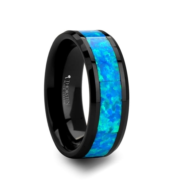 QUANTUM Black Ceramic Ring with Blue Green Opal Inlay 8mm