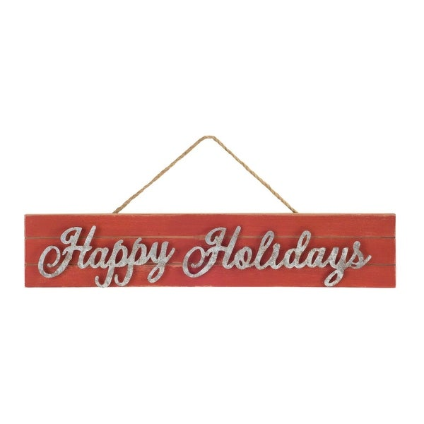 """Pack of 6 Red and Gray Rustic Festive """"Happy Holidays"""" Wall Hanging Signs 18.75"""""""