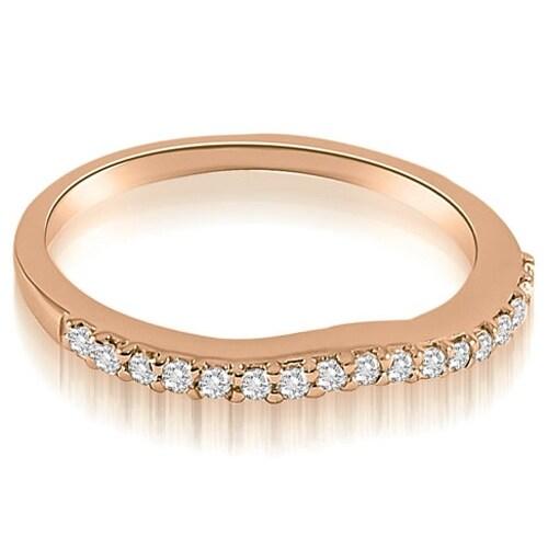 0.13 cttw. 14K Rose Gold Curved Round Cut Diamond Wedding Band