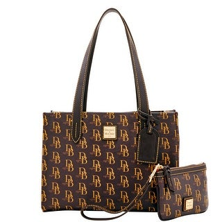 Dooney & Bourke 1975 DB Signature Sm Shopper & Med Wristlet (Introduced by Dooney & Bourke at $228 in Feb 2017) - brown tmoro
