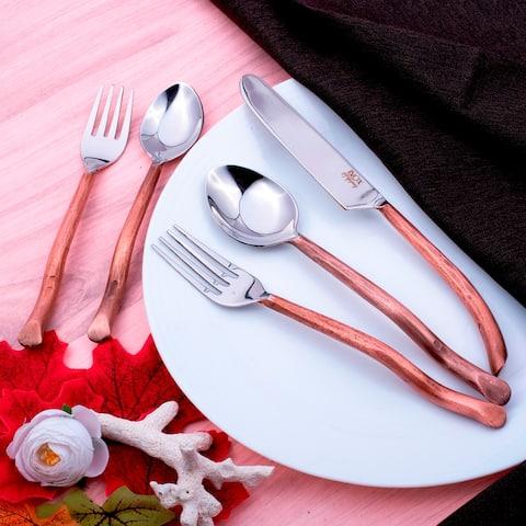 Inox Antique Copper Twig Design 20 Pcs. Flatware Set. SERVES 4 PERSONS.