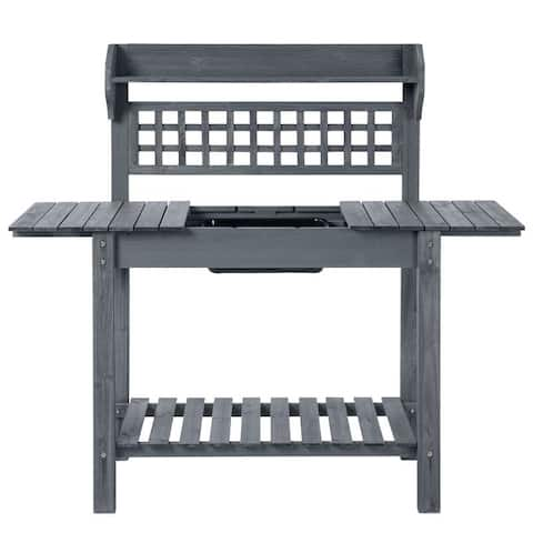 Outdoor Grey Wood Potting Bench Expandable Top with Food Grade Plastic Sink - 39.25 inches L x 17.75 inches W x 55 inches H