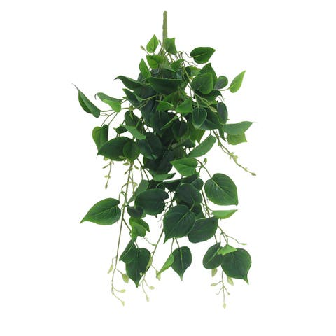 "Set of 2 Philodendron Leaf Ivy Hanging Greenery Bush UV Resistant Indoor Outdoor 30in - 30"" L x 13"" W x 9"" DP"