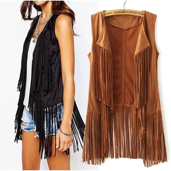 Women Autumn Fashion Suedette Sleeveless Tassel Fringed Jacket Vest Waistcoat