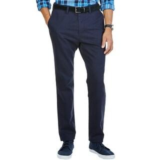 Nautica Modern Slim Fit Cotton Pincord Flat Front Pants Navy Blue - 34