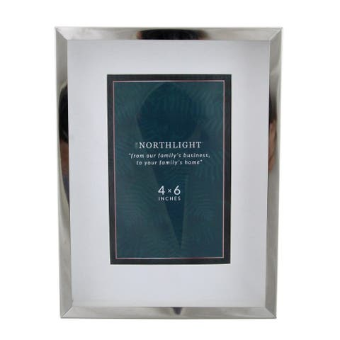"""8"""" Contemporary Rectangular 4"""" x 6"""" Photo Picture Frame - Silver and Clear - 4-inchx6-inch"""