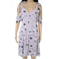 ASTR Purple Womens Size Large L Floral-Print Ruffle A-Line Dress