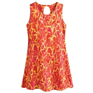 Women's Sunburst Keyhole Dress - Sleeveless Knee-Length Scoop Neck
