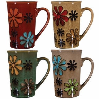 Flower Latte Large Coffee Mugs - 16 Ounce - Set Of 4