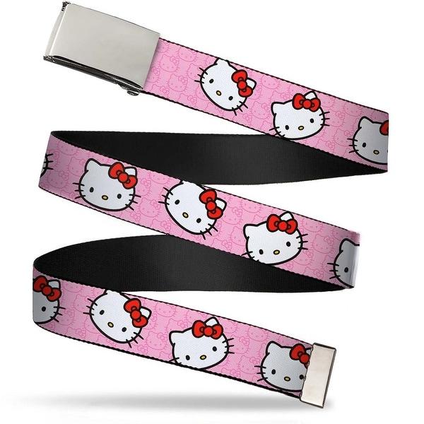 Blank Chrome Bo Buckle Hello Kitty Random Faces W Pink Print Webbing Web Belt