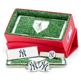 New York Yankees Pinstripe Cufflinks, Money Clip and Tie Bar Gift Set - navy
