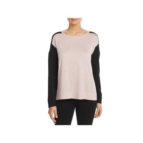 Donna Karan Womens Pullover Sweater Colorblock Long Sleeve
