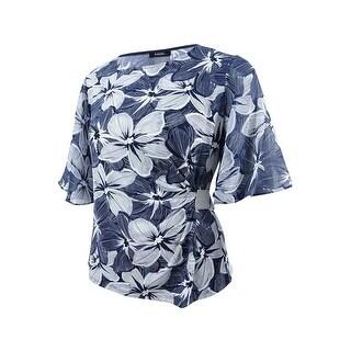 MSK Women's Rhinestone Flutter-Sleeve Evening Blouse - NAVY/WHITE