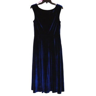 Betsey Johnson Sleeveless Midi Tea Length Velvet Dress with Bateau Neck, 10