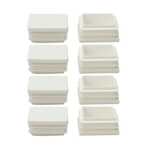 8pcs 38 x 38mm Plastic Square Ribbed Tube Inserts End Cover Cap