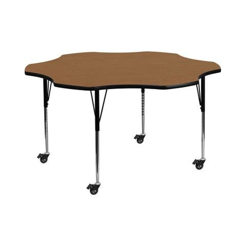 """Offex 60"""" Mobile Flower Shaped Activity Table with Oak Thermal Fused Laminate Top and Standard Height Adjustable Legs - N/A"""