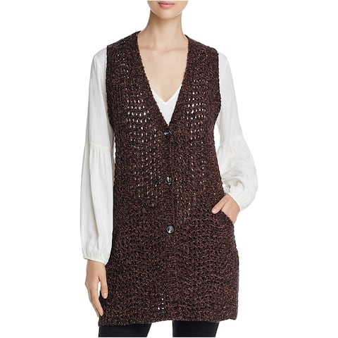 Sanctuary Clothing Womens Palais Sweater Vest, Brown, Small